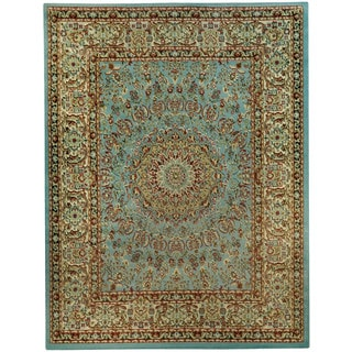 "Pasha Collection Medallion Traditional Ocean Blue Area Rug (3'3 x 5') - 3'3"" x 5'"