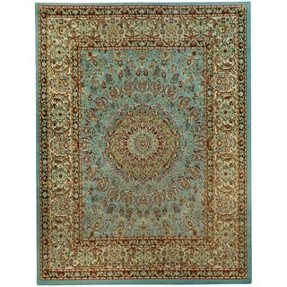 Pasha Collection Medallion Traditional Ocean Blue Area Rug (5'3 x 6'11) - 5'3 x 6'11