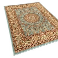 Pasha Collection Medallion Traditional Ocean Blue Area Rug (7'10 x 10'6) - 7'10 x 10'6