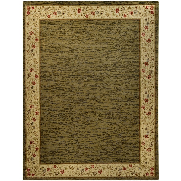Pasha Collection Solid French Border Sage Green 5 3 X 6 11