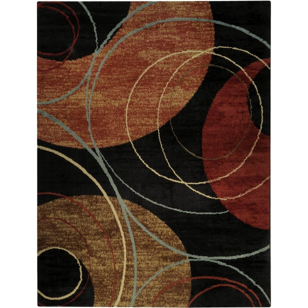 Black Interlocking Circles Contemporary Area Rug - 7'10 x 10'6