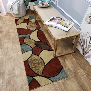 Multicolored Oval Tiles Contemporary Rug (2'7 x 10' Runner)