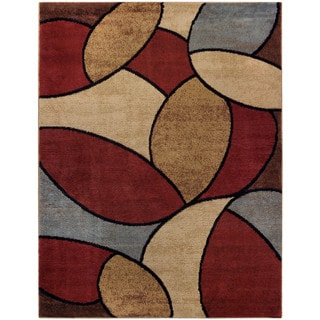 Multicolored Oval Tiles Contemporary Area Rug (7'10 x 10'6)