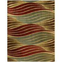 "Striped Wave Ivory Contemporary Area Rug - 3'3"" x 5'"