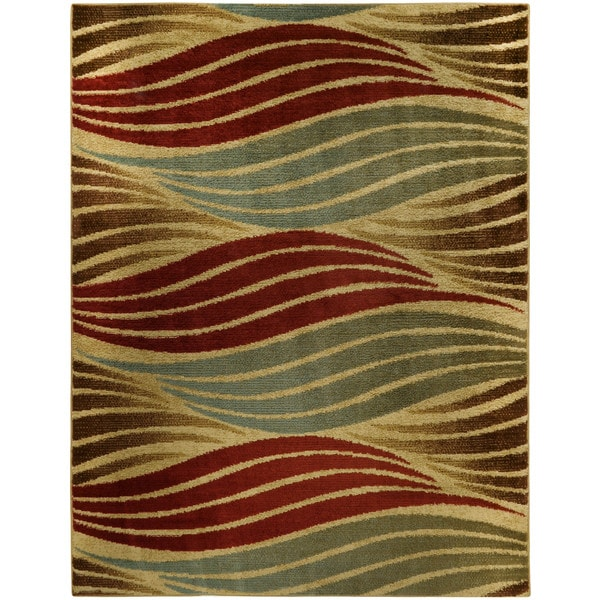 Striped Wave Ivory Contemporary Area Rug - 7'10 x 10'6