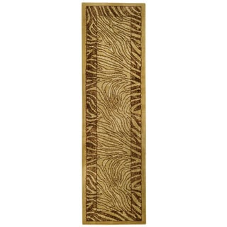 Ivory and Brown Tiger Animal Print Rug (2'7 x 10' Runner)