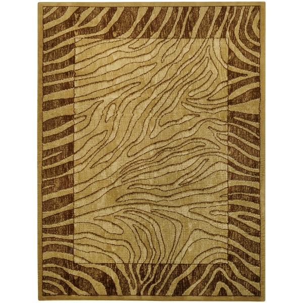 Ivory And Brown Tiger Animal Print Area Rug (3'3 X 5