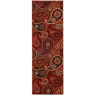 "Rubber Back Red Paisley Floral Non-skid Runner Rug (22"" x 6'9)"