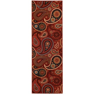 "Rubber Back Red Paisley Floral Non-skid Runner Rug (22"" x 6'9) - 1'10 x 6'9"