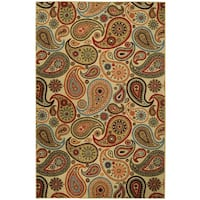 Ivory Paisley Floral Nonskid Area Rug with Rubber Back - 3'3 x 5'