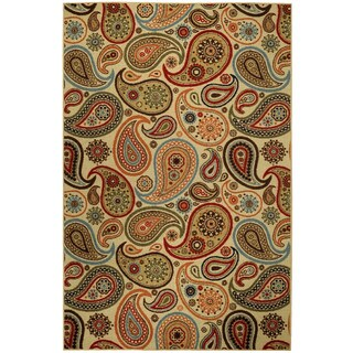Rubber Back Ivory Paisley Floral Non-Skid Area Rug (3'3 x 5') - 3'3 x 5'