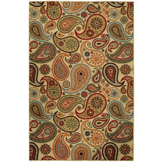 Rubber Back Ivory Paisley Fl Non Skid Area Rug 3 X 5