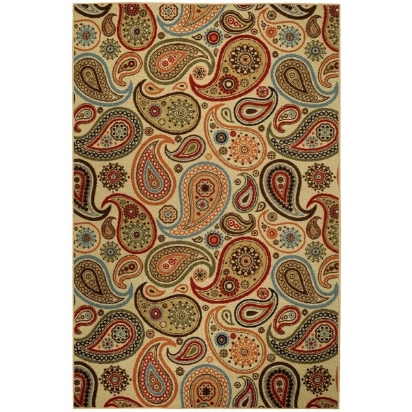 Rubber Back Ivory Paisley Floral Non-Skid Area Rug (3'3 x 5') - green - 3'3 X 5'