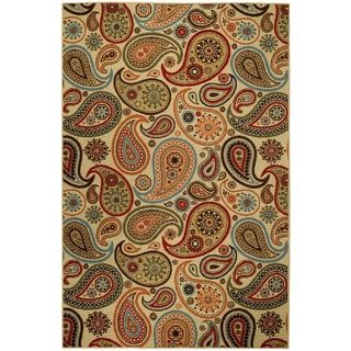 Rubber Back Ivory Paisley Floral Non-Skid Area Rug 5' x 6'6""