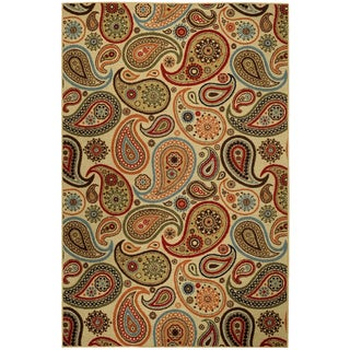 "Rubber Back Ivory Paisley Floral Non-Skid Area Rug 5' x 6'6"" - RED - 5' x 6'6"