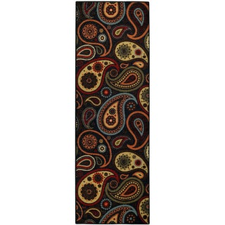 "Rubber Back Black Charcoal Paisley Floral Non-Skid Runner Rug 22"" x 6'9"""