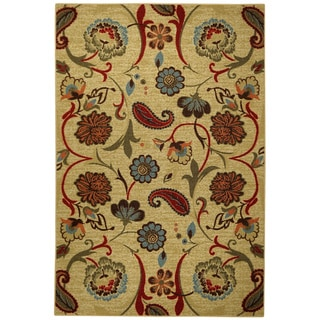 Rubber Back Beige/ Multicolor Floral Non-Skid Area Rug (3'3 x 5')