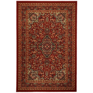 Rubber Back Red Traditional Floral Print Non-Skid Area Rug (3'3 x 5')