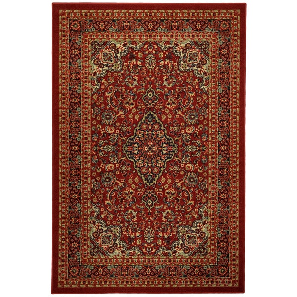 Rubber Back Red Traditional Floral Print Non-Skid Area Rug (5' x 6'6) - 5' x 6'6