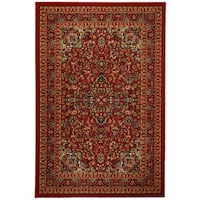 Rubber Back Red Traditional Floral Print Non-Skid Area Rug (5' x 6'6)