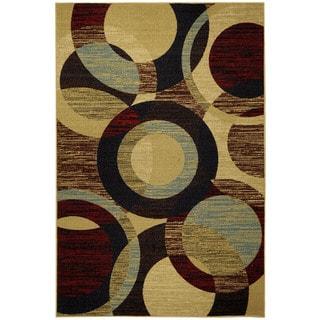 Rubber Back Multicolored Contemporary Circles Non-Skid Area Rug (3'3 x 5') - Red - 3'3 X 5'