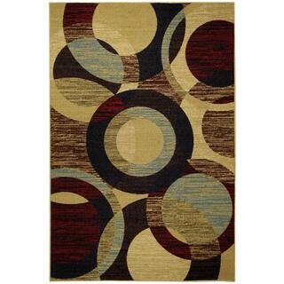 Rubber Back Multicolored Contemporary Circles Non-Skid Area Rug (3'3 x 5')