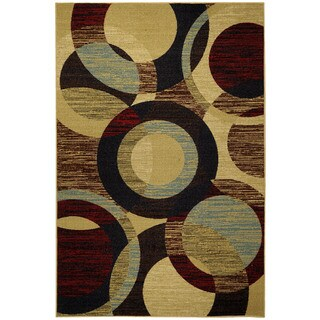 Rubber Back Multicolored Contemporary Circles Non-Skid Area Rug (5' x 6'6)