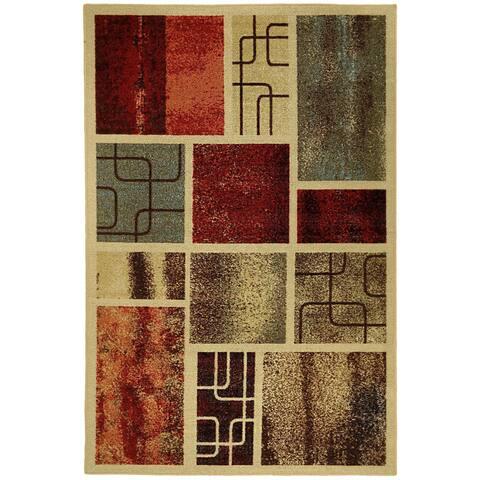Rubber Back Multicolor 'Framed Boxes' Green Red Yellow Orange Non-Skid/ Non-Slip Area Rug (3'3 x 5') - 3'3 X 5'