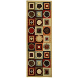 "Rubber Back Multicolor Geometric Non-Skid Runner Rug (22"" x 6'9)"