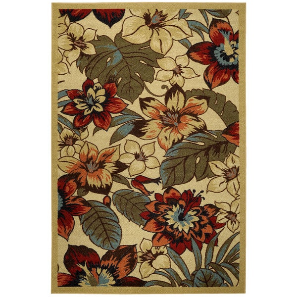 Shop Ivory Multicolor Rubber Back Floral Garden Non Skid