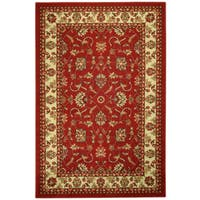 Rubber Back Red Traditional Floral Non-Skid Area Rug - 3'3 x 5'