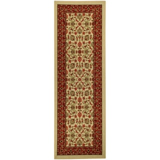 Rubber Back Ivory Traditional Floral Nylon Nonskid Runner Rug (22 x 6'9)