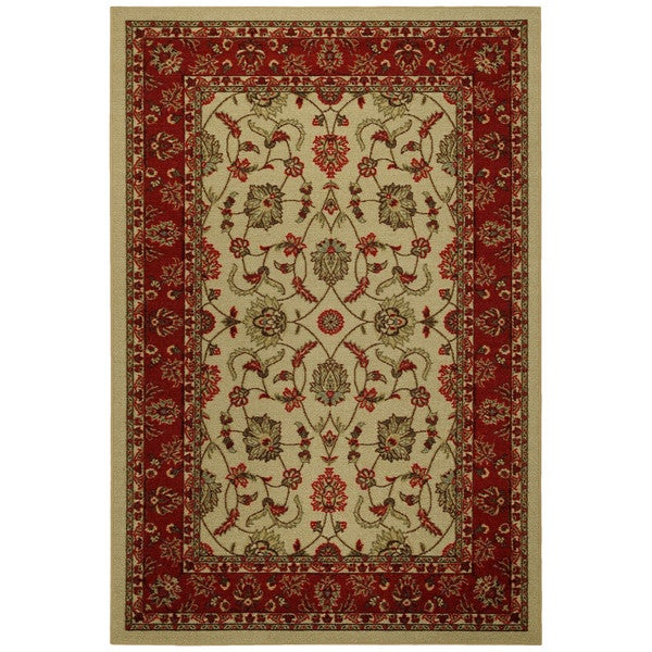 Shop Rubber Back Ivory Traditional Floral Non Skid Area