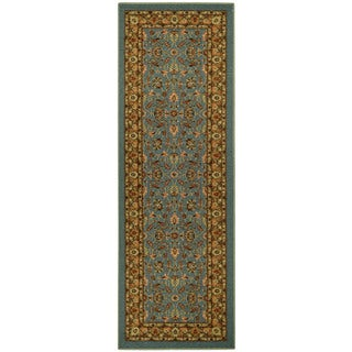 "Rubber Back Ocean Blue Traditional Floral Non-Skid Runner Rug (22"" x 6'9)"