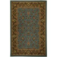 Rubber Back Ocean Blue Traditional Floral Non-Skid Area Rug (5' x 6'6) - 5' x 6'6