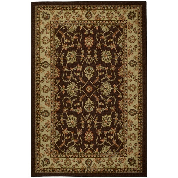 Rubber Back Brown Traditional Floral Non-Skid Area Rug (3'3 x 5') - 3'3 X 5'
