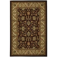 Rubber Back Brown Traditional Floral Non-Skid Area Rug - 5' x 6'6