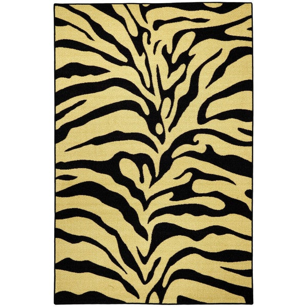 Rubber Back Black And Ivory Tiger Print Non-Skid Area Rug