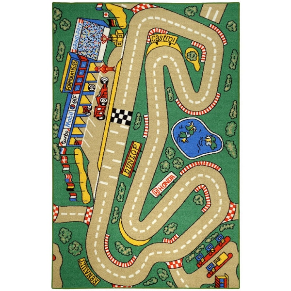 Kid's City Race Track And Cars Green Non-Skid Area Rug (3