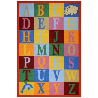 Kid's Educational Alphabet Boxes Multicolored Non-Skid Area Rug (3'3 x 5')