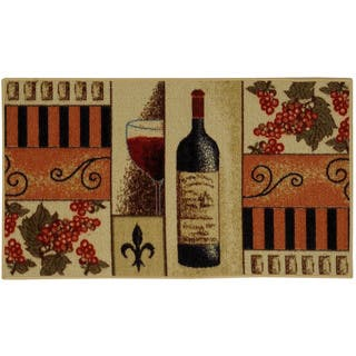 """French Wine Glass Non-skid Kitchen Mat Rubber Back Rug (18"""" x 30"""")