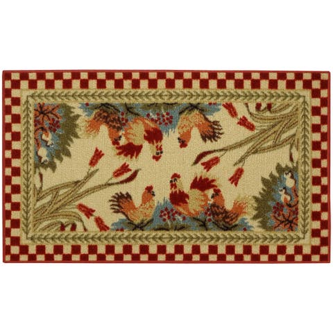 """Rooster Checkered Non-skid Kitchen Mat Rubber Back Rug (18"""" x 30"""") - 1'6 X 2'6"""