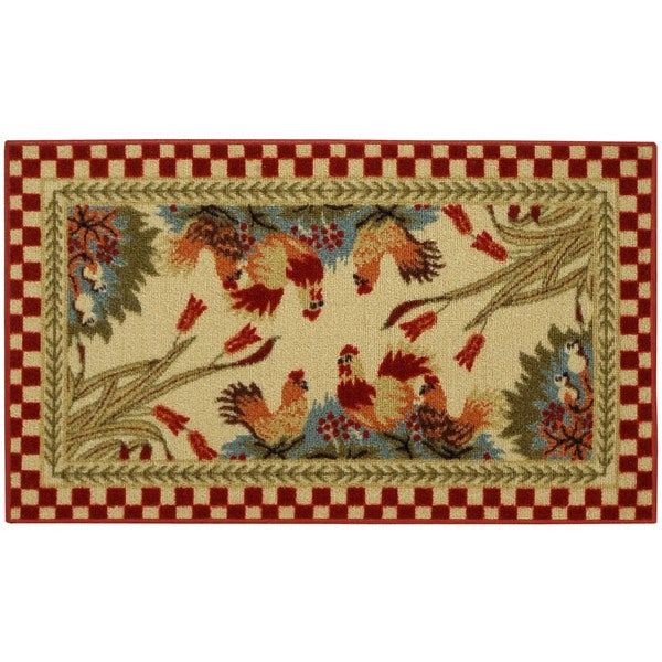 "rooster checkered non-skid kitchen mat rubber back rug (18"" x 30"