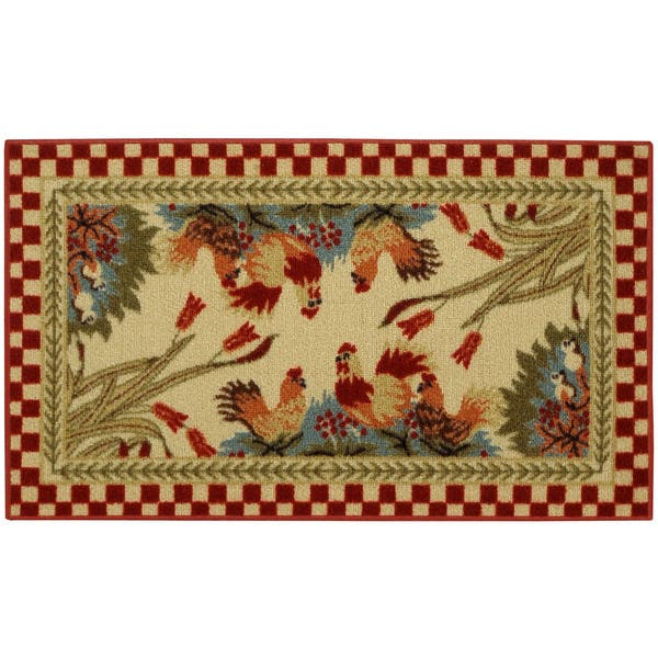 Rooster Checkered Non-skid Kitchen Mat Rubber Back Rug (18\