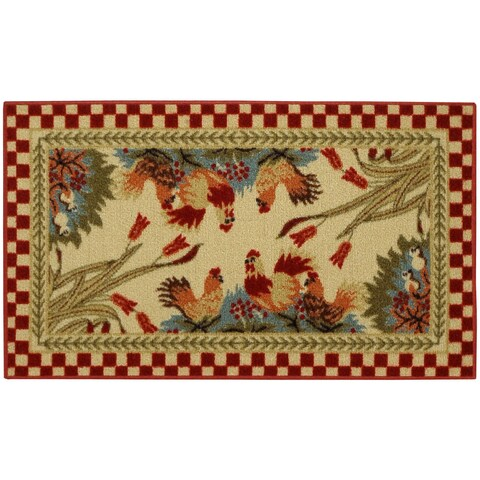Rooster Checkered Rubber Back Non-skid 18-inch x 30-inch Kitchen Mat Rug