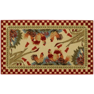 """Rooster Checkered Non-skid Kitchen Mat Rubber Back Rug (18"""" x 30"""")