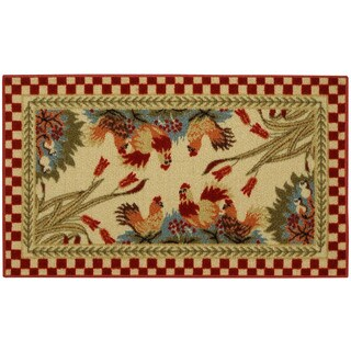 "Rooster Checkered Non-skid Kitchen Mat Rubber Back Rug (18"" x 30"") - 1'6 x 2'6"