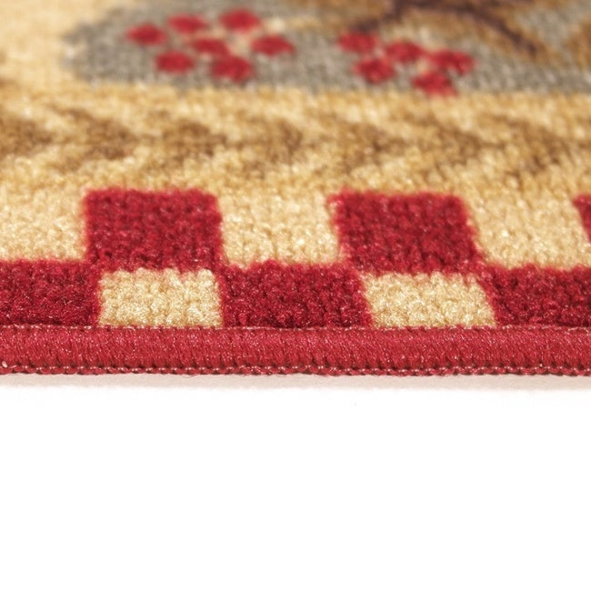 Rooster Tapestry Non Skid Rug: Rooster Checkered Non-skid Kitchen Runner Rubber Back Rug