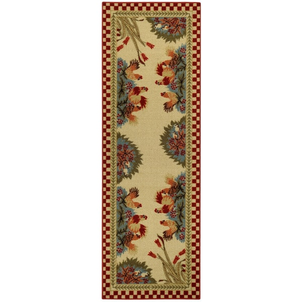 rooster checkered non skid kitchen runner rubber back rug