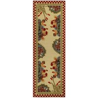 """Rooster Checkered Non-skid Kitchen Runner Rubber Back Rug 20 x 59 - Red - 20"""" x 59"""""""